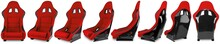 Set Collection Of Red Black Carbon Fiber Motorsport Race Car Tuning  Sim Racing Bucket Seat Isolated White Background