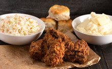 Meal Of Fried Chicken Mashed Potatoes Coleslaw And Buttermilk Biscuits