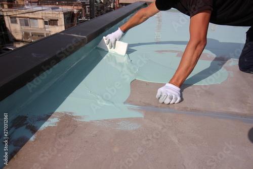 Fototapeta 分譲マンションのウレタン塗膜での屋上防水工事 obraz
