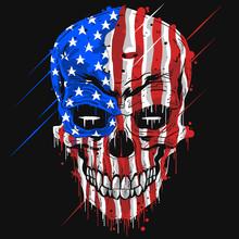 SKULL HEAD AMERICA FLAG . USA ...