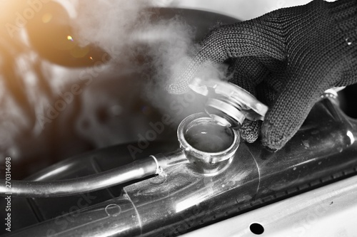 Car maintenance, car radiators help cool the engine Should see the appropriate water level, not to be dry or lacking Canvas Print