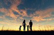 Family walking together at sunset,3d rendering