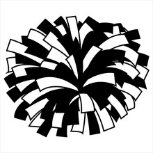 Black And White Cheerleader Pom Pom Vector Graphic Illustration