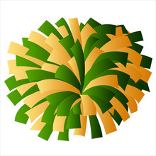 Green And Yellow Gold Cheerleader Pom Pom Vector Graphic Illustration
