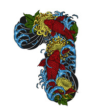 Koi Fish With Chrysanthemum Vector Tattoo By Hand Drawing.Beautiful Flower On White Background.Red Flower Graphics Design Art Highly Detailed In Line Art Style.