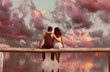canvas print picture - Couple sitting on wooden fence with colorful sky background,3d rendering