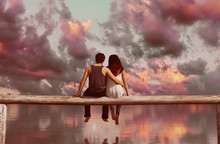 Couple Sitting On Wooden Fence With Colorful Sky Background,3d Rendering