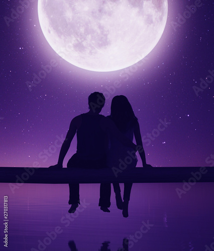 Poster Violet Couple sitting on wooden fence against the moonlight,3d rendering