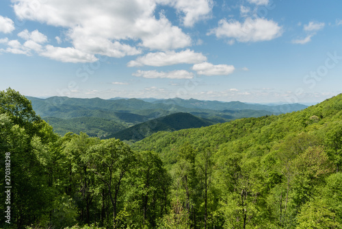 Beautiful Blue Ridge Parkway vista in springtime, North Carolina