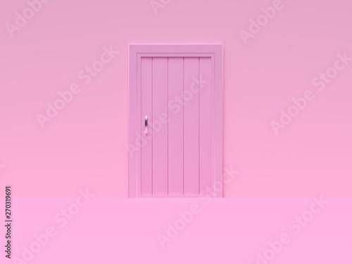 Photo  minimal pink scene wall floor abstract door 3d rendering