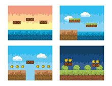 Set Of Videogame Scene With Pixelated Bushes And Coins