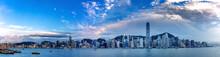 Hong Kong Skyscraper Panorama From Across Victoria Harbor