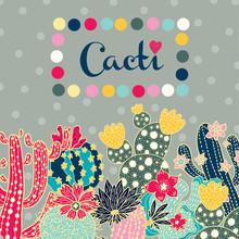 Cute Cactus. Vector Postcard