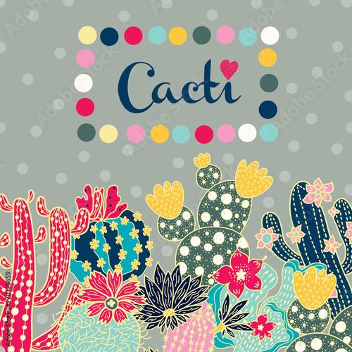 Fototapeta Cute cactus. Vector postcard obraz na płótnie