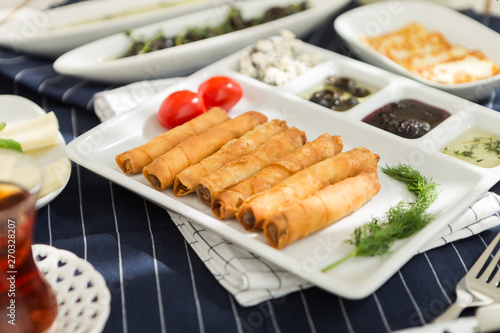 Fototapety, obrazy: Sunday home breakfast Turkish breakfast with borek and olives, cheese