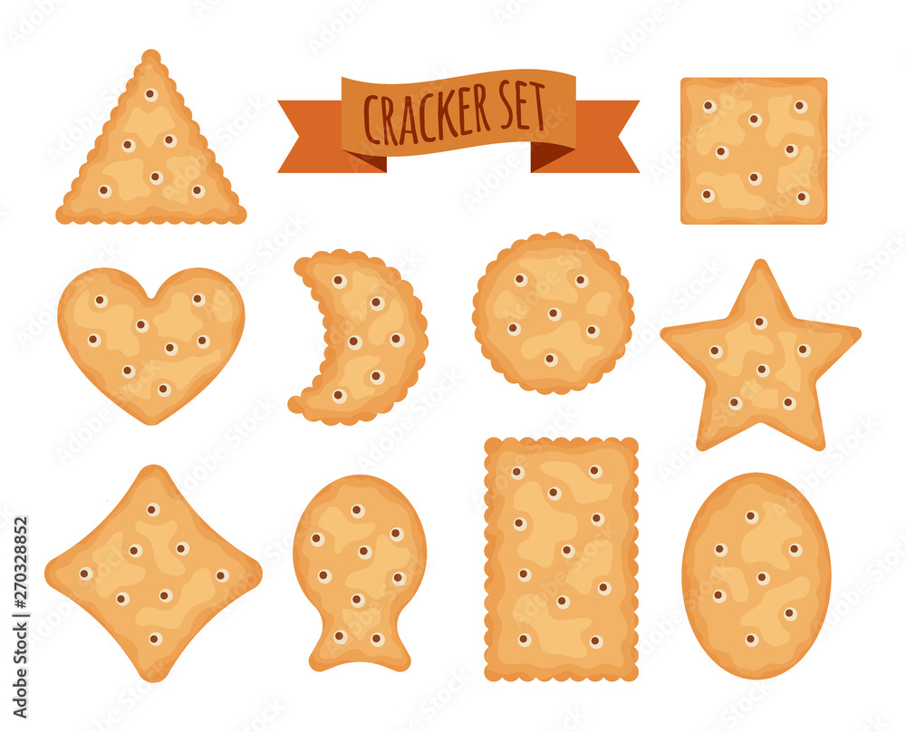 Fototapeta Set of cracker chips different shapes isolated on white background. Biscuit cookies for breakfast, tasty snack, yummy crackers - vector illustration