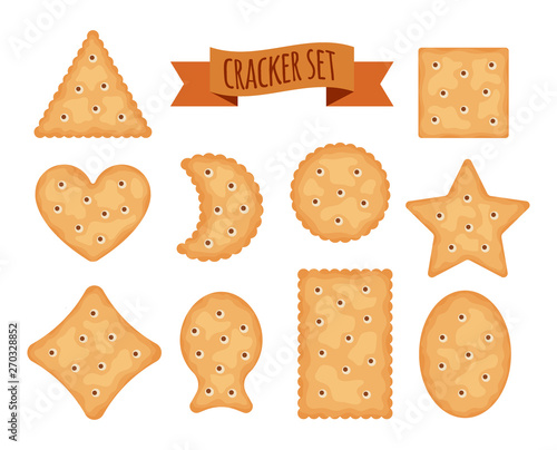 Set of cracker chips different shapes isolated on white background Tapéta, Fotótapéta