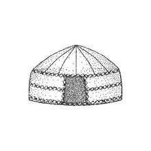 Yurt Of Nomads. Hand Draw. Ske...