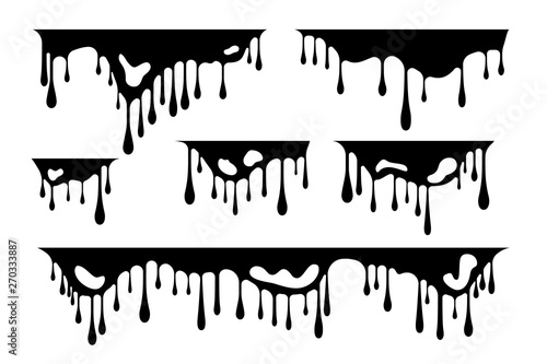 Fototapety, obrazy: Dripping liquid design elements. Vector isolated dividers and borders with ink or paint flow down.