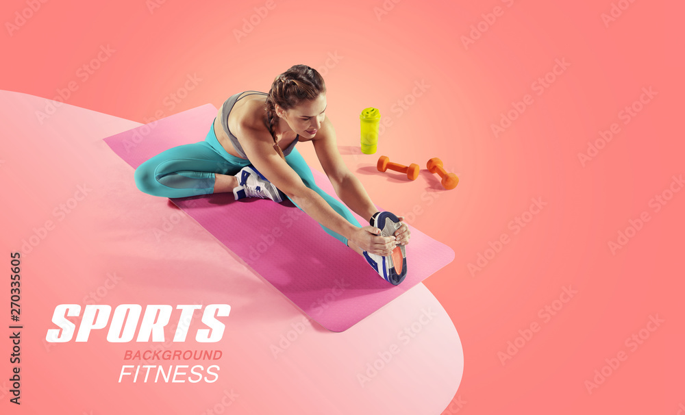 Fototapety, obrazy: Sport and fitness backgrounds. Stretching. Isolated.
