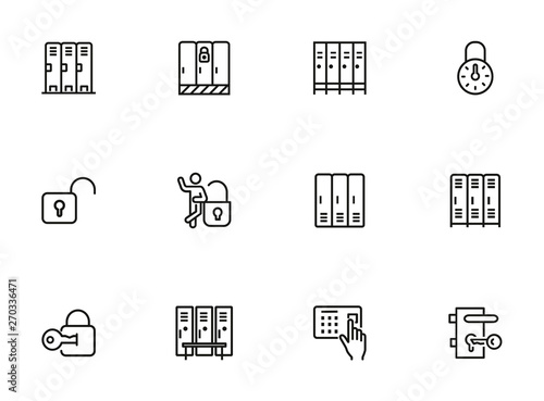 Obraz na plátne Lockers line icon set