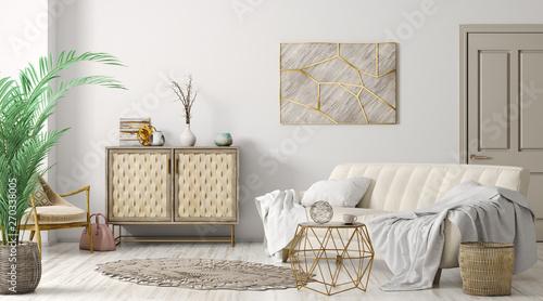 Leinwand Poster Interior of modern living room 3d rendering