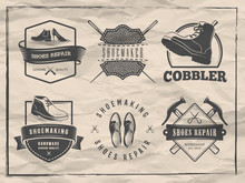 Shoemaker Logos. Vector Badges For Shoe Repair Or Cobbler Shop. Labels With Shoes, Boots And Shoemaking Tools On Vintage Paper Background.