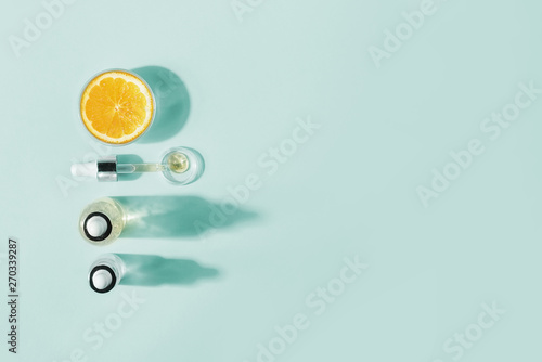 Stickers pour portes Spa Serum with vitamin C, concept design. Beauty therapy, body care. Minimalism Flat lay.