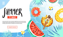 Summer Rest And Vacation Concept. Landing Page Template. Woman Floating And Sunbathing On Inflatable Ring In Swimming Pool. Various Inflatable Rings And Tropical Leaves. Vector Illustration.