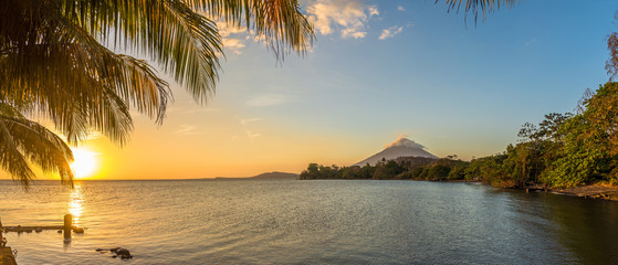 Panoramic view at the sunset with Conception Volcano at the Nicaragua lake in Ometepe Island - Nicaragua