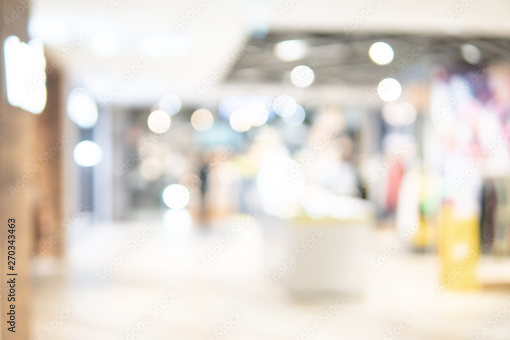 Fototapety, obrazy: Abstract blur shopping mall corridor. Blurred retail and hall interior in department store. Defocused bokeh effect background or backdrop for business concept.