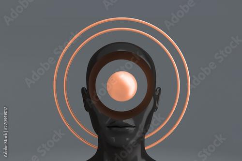 A woman's head with Golden circles around it depicting an aura Fototapeta