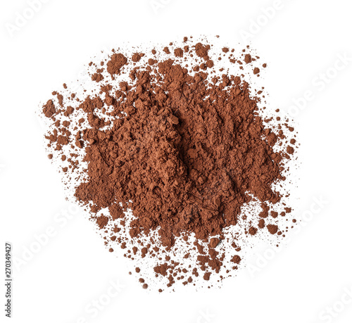 Fotomural Heap of cocoa powder on white background