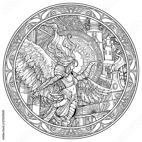 Coloring pages for adults beautiful angel woman in the ring ...