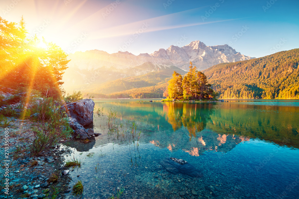 Fototapety, obrazy: Picturesque summer view of Eibsee lake with Zugspitze mountain range. Sunny outdoor scene in German Alps, Bavaria, Garmisch-Partenkirchen village location, Germany, Europe.