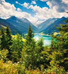 FototapetaGreat summer scene of Speicher Durlassboden lake. Picturesque morning view of Richterspitze mountain range in the Austrian Alps, Schwaz district in the Tyrol state, Austria, Europe.