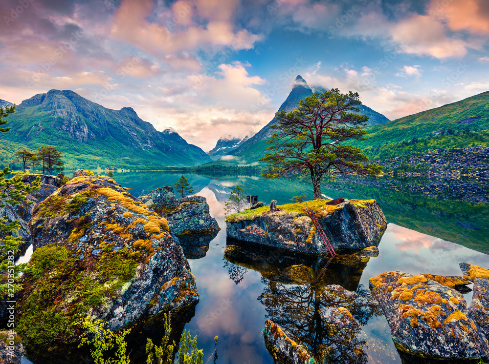 Fototapety, obrazy: Great summer sunrise on the Innerdalsvatna lake. Colorful morning scene in Norway, Europe. Beauty of nature concept background. Beauty of nature concept background.