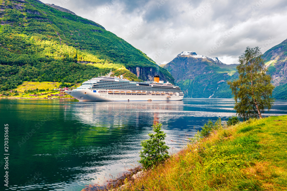 Fototapety, obrazy: Sunny summer scene of Geiranger port, western Norway. Colorful view of Sunnylvsfjorden fjord. Traveling concept background. Artistic style post processed photo.