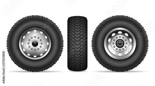 Vászonkép Truck wheels vector set