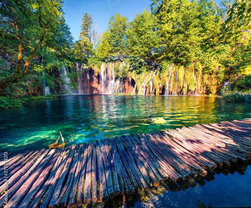 Poster Landscapes Nice morning view of Plitvice National Park. Colorful spring scene of green forest with pure water waterfall. Great countryside landscape of Croatia, Europe. Traveling concept background.