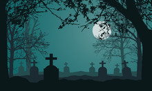 Realistic Illustration Of Spooky Landscape And Forest With Dead And Dry Trees, Cemetery With Tombstones And Full Moon On Night Green Sky. Suitable As A Card For Halloween, Vector