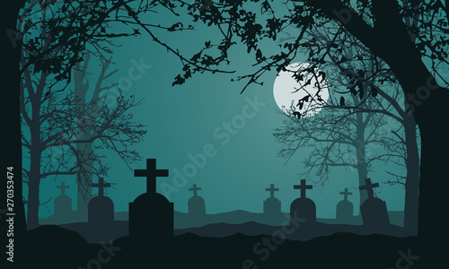 Fototapeta Realistic illustration of spooky landscape and forest with dead and dry trees, cemetery with tombstones and full moon on night green sky
