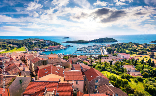 Türaufkleber Schiff Aerial view of the port of Vrsar (Orsera) town. Colorful spring cityscape of Croatia, Europe. Traveling concept background. Magnificent Mediterranean seascape.