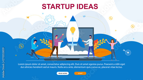 Photo  Vector Illustration Startup Ideas Landing Page.