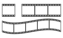 Film Strip Frame Or Border Set. Photo, Cinema Or Movie Negative. Vector Illustration.