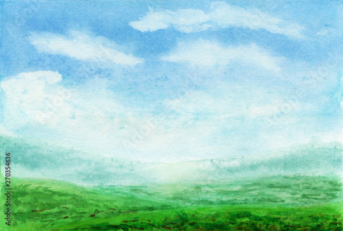 Foto op Canvas Lime groen Summer watercolor landscape. Spring watercolor landscape with mountains, blue sky, clouds, green glade fields and meadows . Hand drawn nature european background. Painting countryside illustration