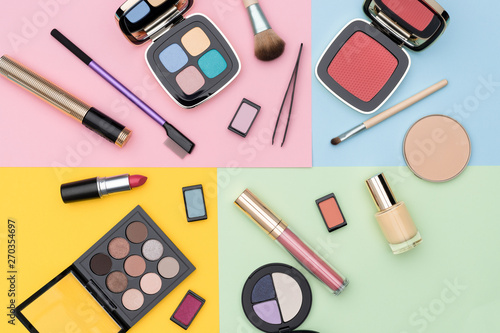 Fototapety, obrazy: Set of assorted makeup supplies