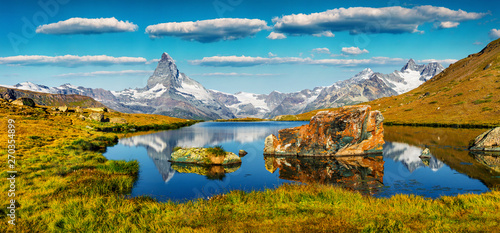 Colorful summer panorama of the Stellisee lake Tablou Canvas