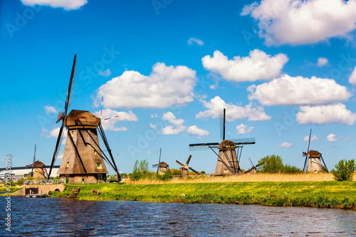 Famous windmills in Kinderdijk village in Holland. Colorful spring rural landscape in Netherlands, Europe. UNESCO World Heritage and famous tourist site.