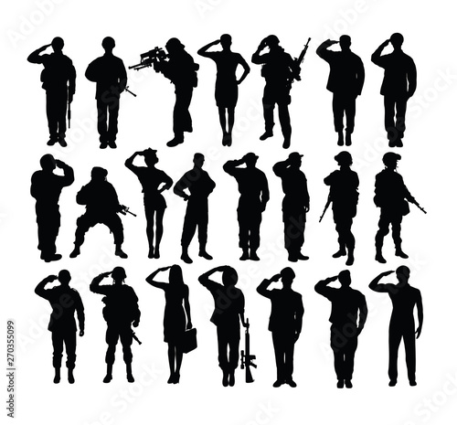 Fotografie, Tablou Saluting Soldier and Army Force Silhouettes, art vector design